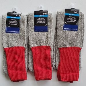 Mens Thermal Boot Socks Size 6-12 3 Prs Gray Red